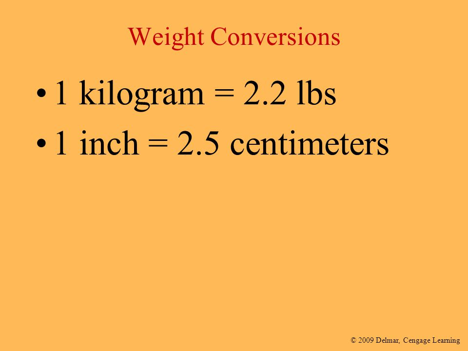 Weight Conversions 1 kilogram = 2.2 lbs 1 inch = 2.5 centimeters