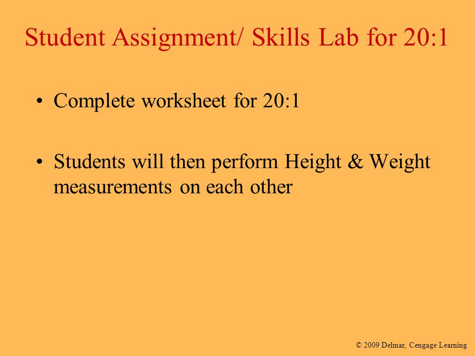 Student Assignment/ Skills Lab for 20:1