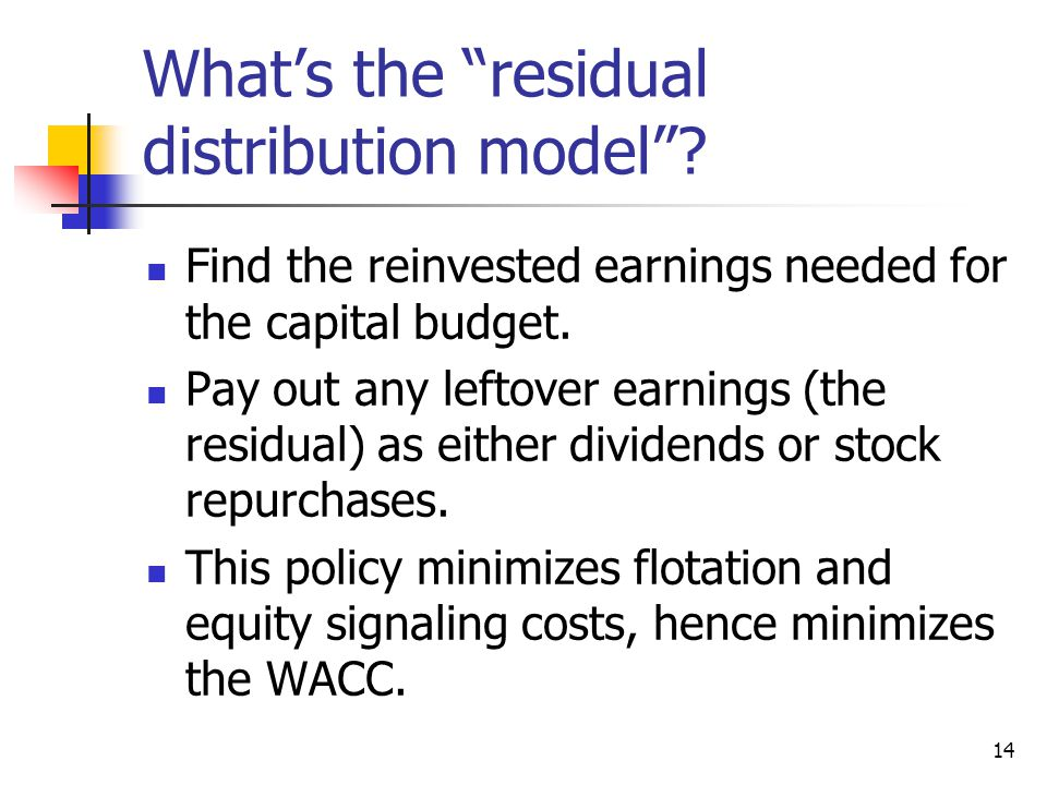 What's the residual distribution model