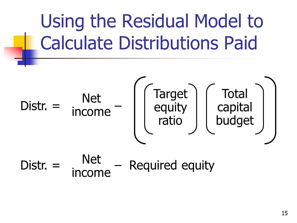 Using the Residual Model to Calculate Distributions Paid