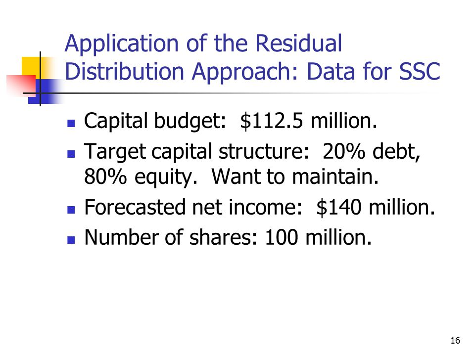 Application of the Residual Distribution Approach: Data for SSC