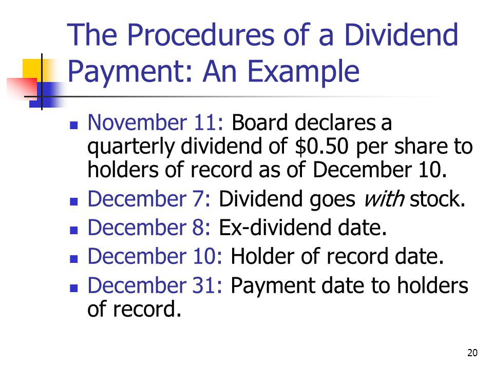 The Procedures of a Dividend Payment: An Example