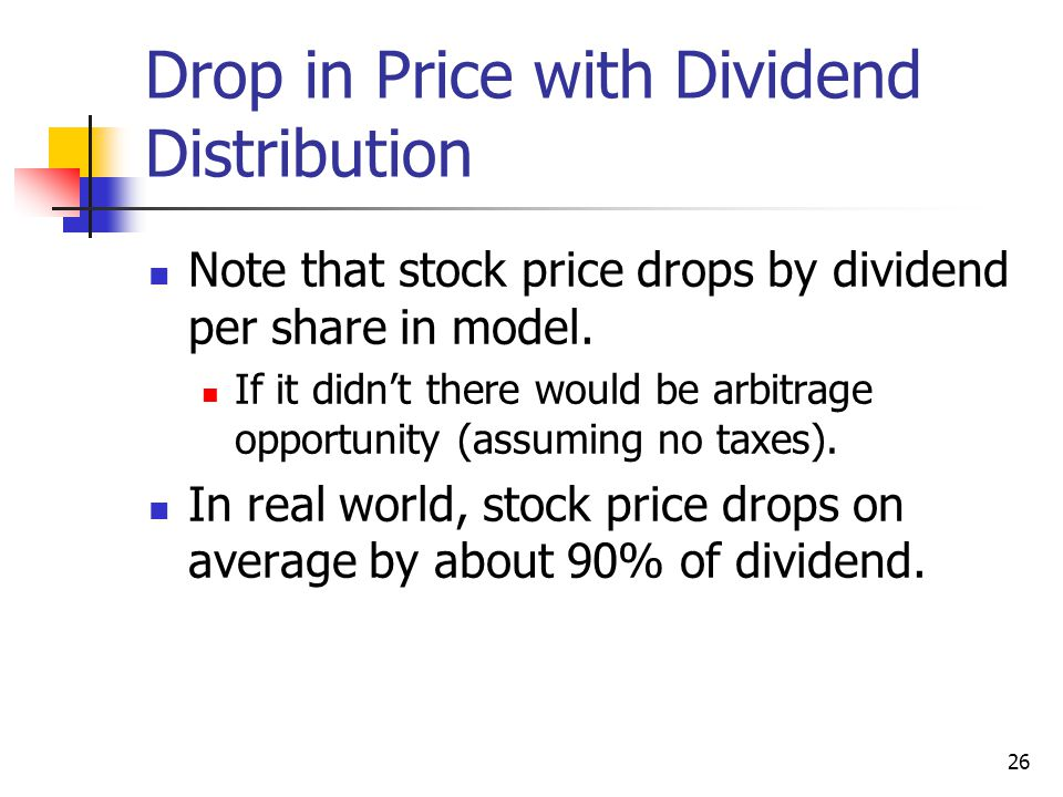 Drop in Price with Dividend Distribution
