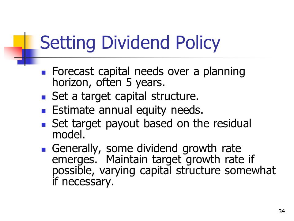 Setting Dividend Policy
