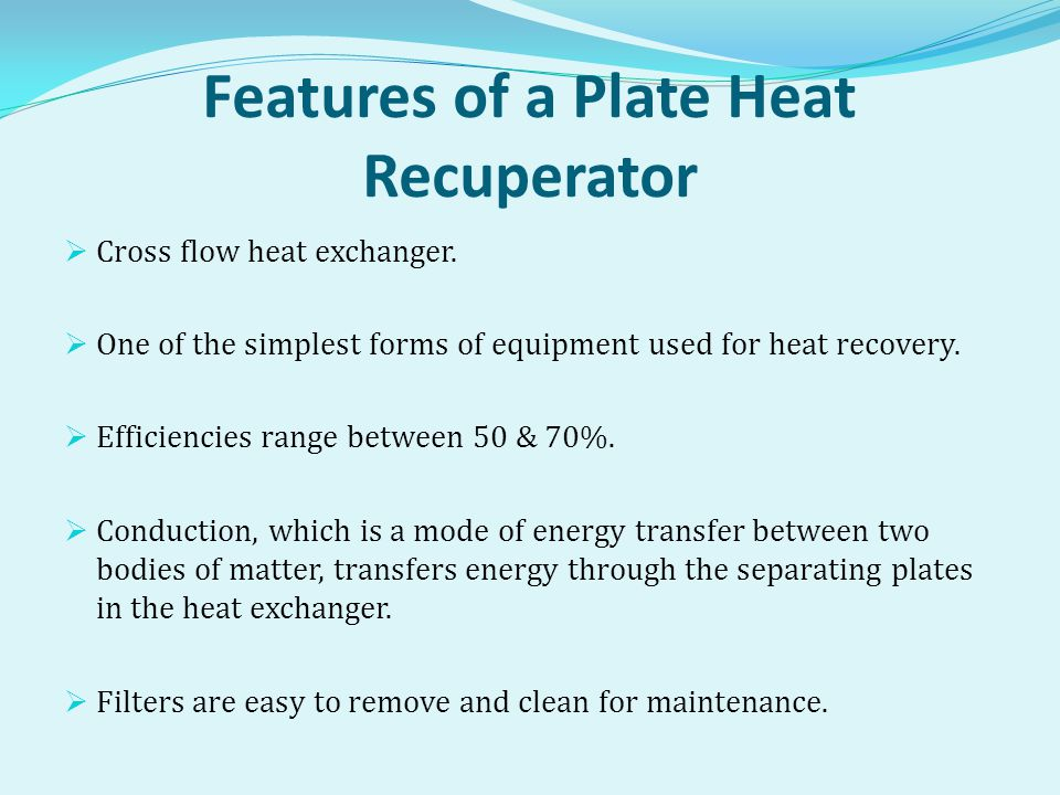Features of a Plate Heat Recuperator