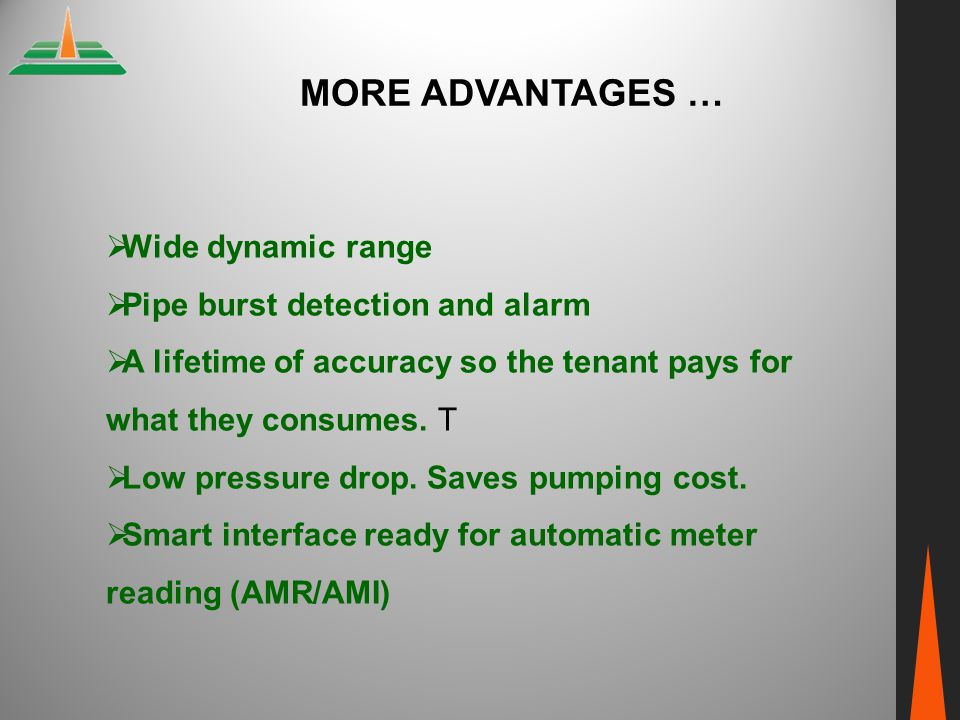 More ADVANTAGES … Wide dynamic range Pipe burst detection and alarm