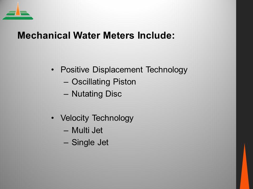 Mechanical Water Meters Include:
