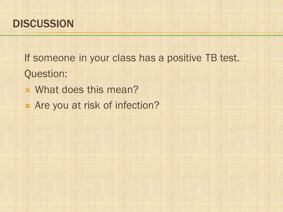 Discussion If someone in your class has a positive TB test. Question: