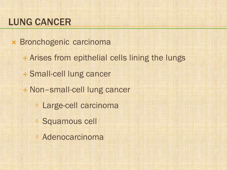 Lung Cancer Bronchogenic carcinoma