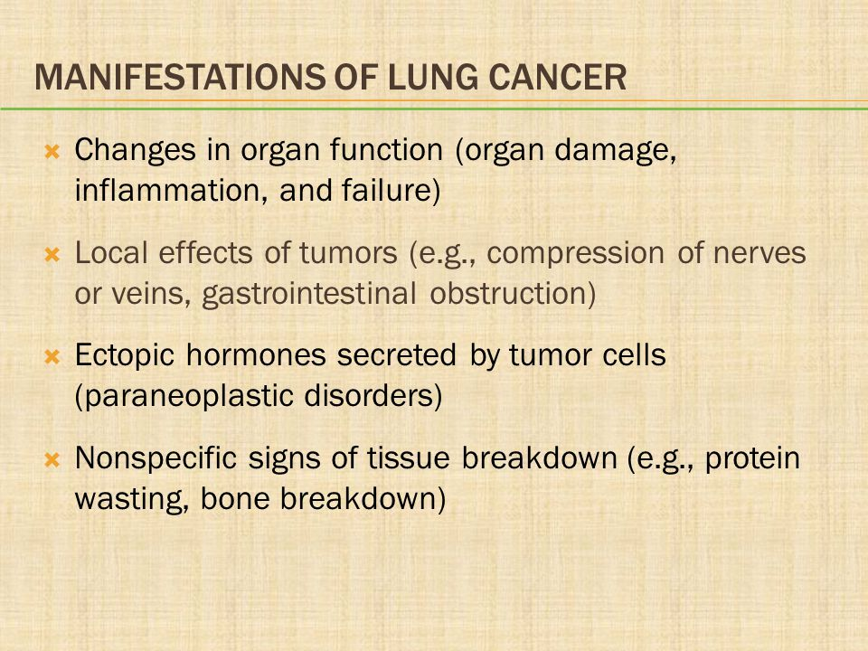 Manifestations of Lung Cancer