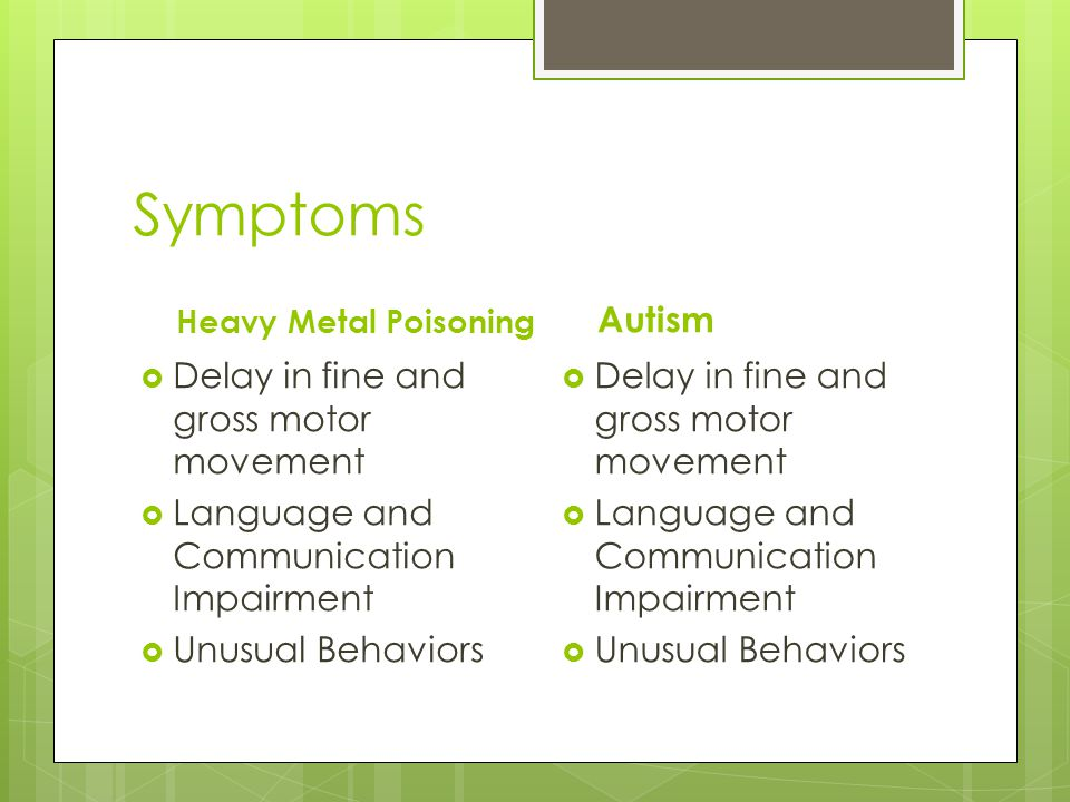 Symptoms Autism Delay in fine and gross motor movement