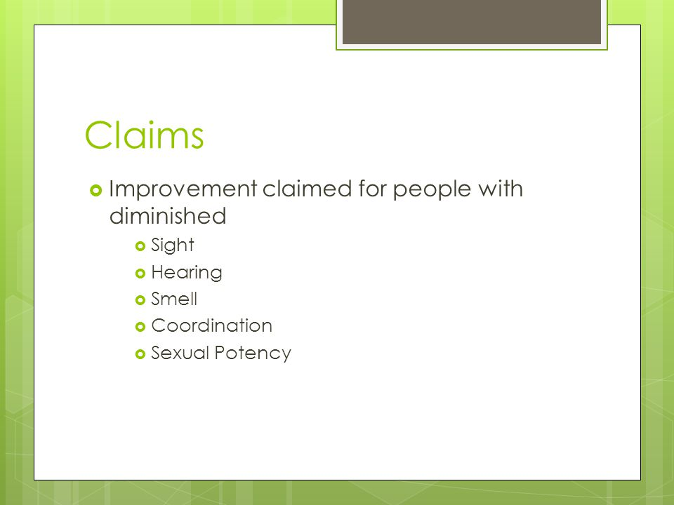 Claims Improvement claimed for people with diminished Sight Hearing