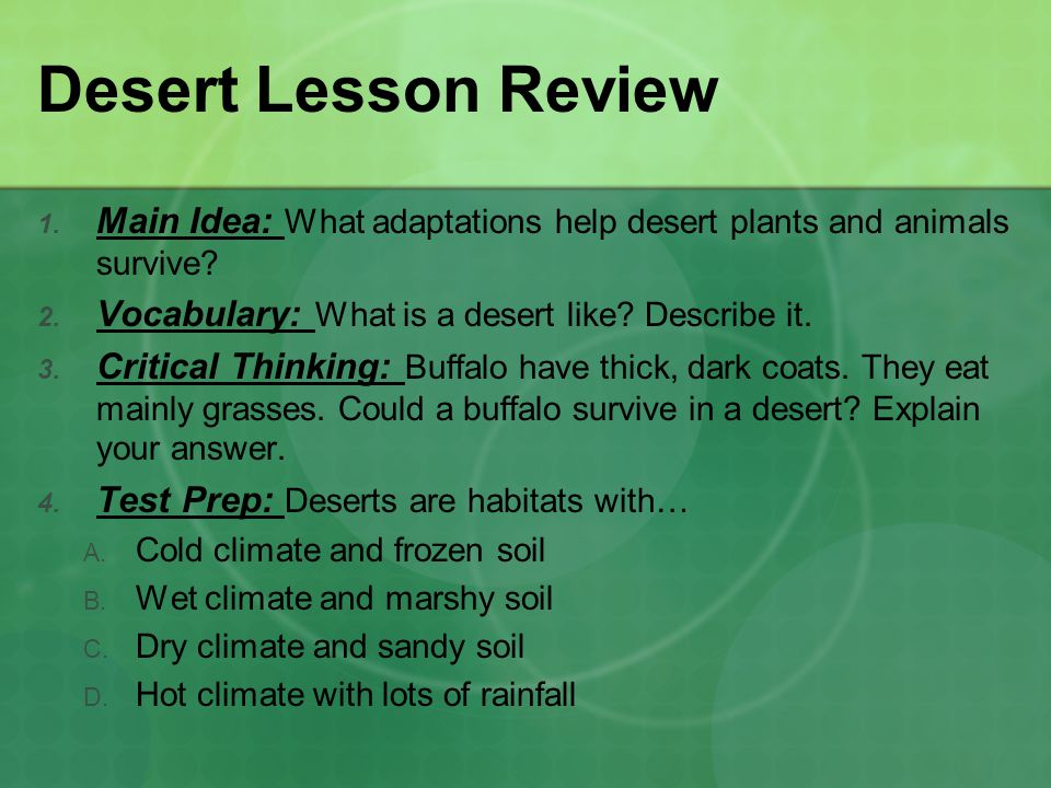 Desert Lesson Review Main Idea: What adaptations help desert plants and animals survive Vocabulary: What is a desert like Describe it.
