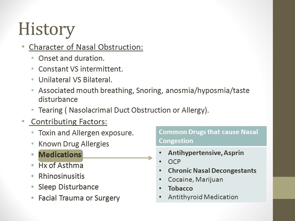 History Character of Nasal Obstruction: Contributing Factors: