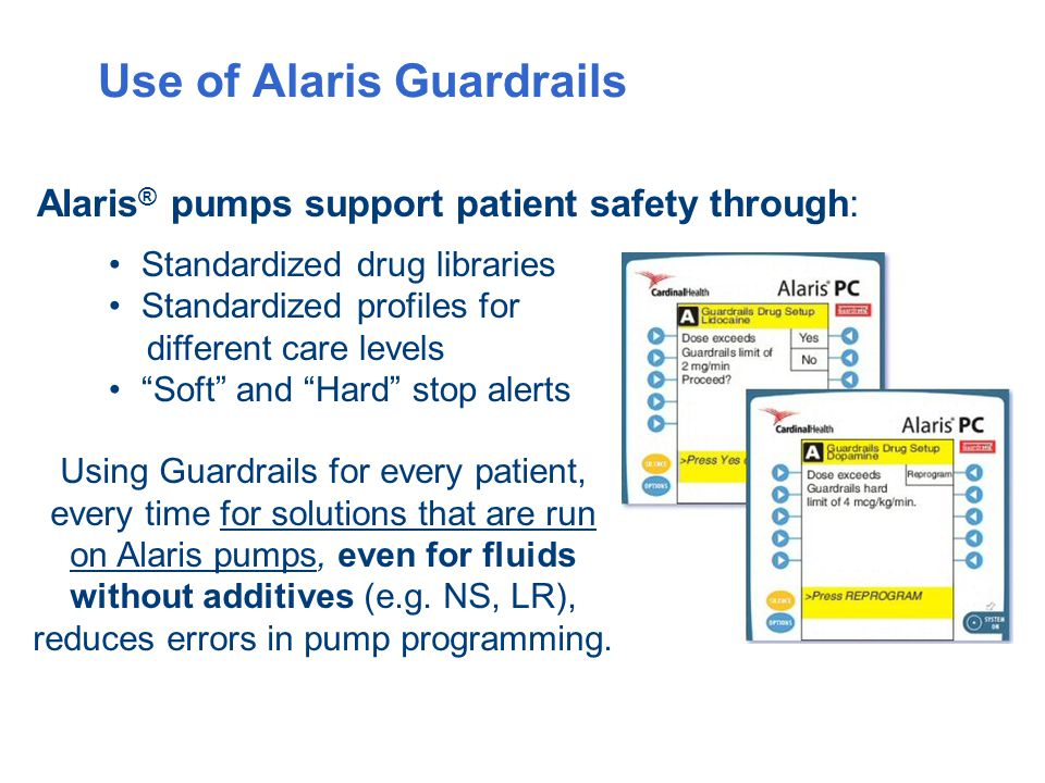 Use of Alaris Guardrails