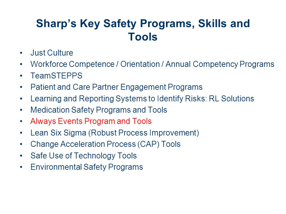 Sharp's Key Safety Programs, Skills and Tools