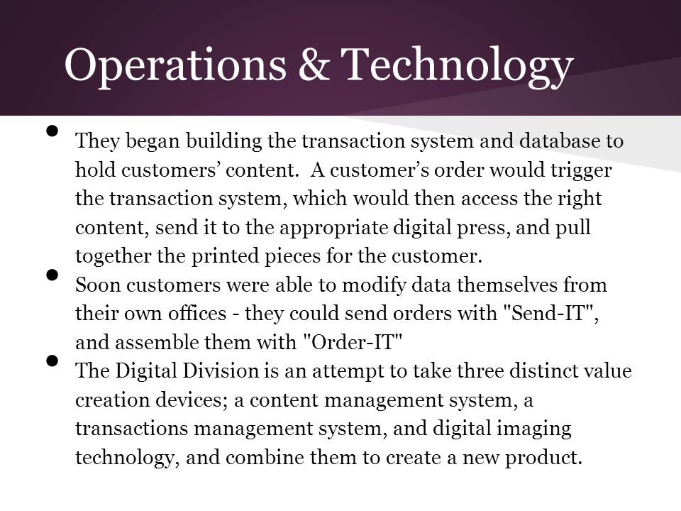Operations & Technology