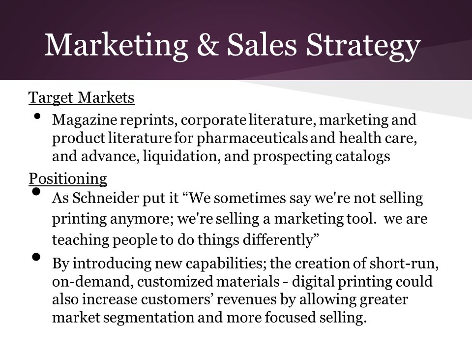 Marketing & Sales Strategy