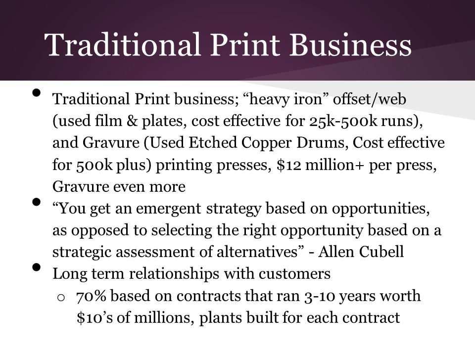 Traditional Print Business