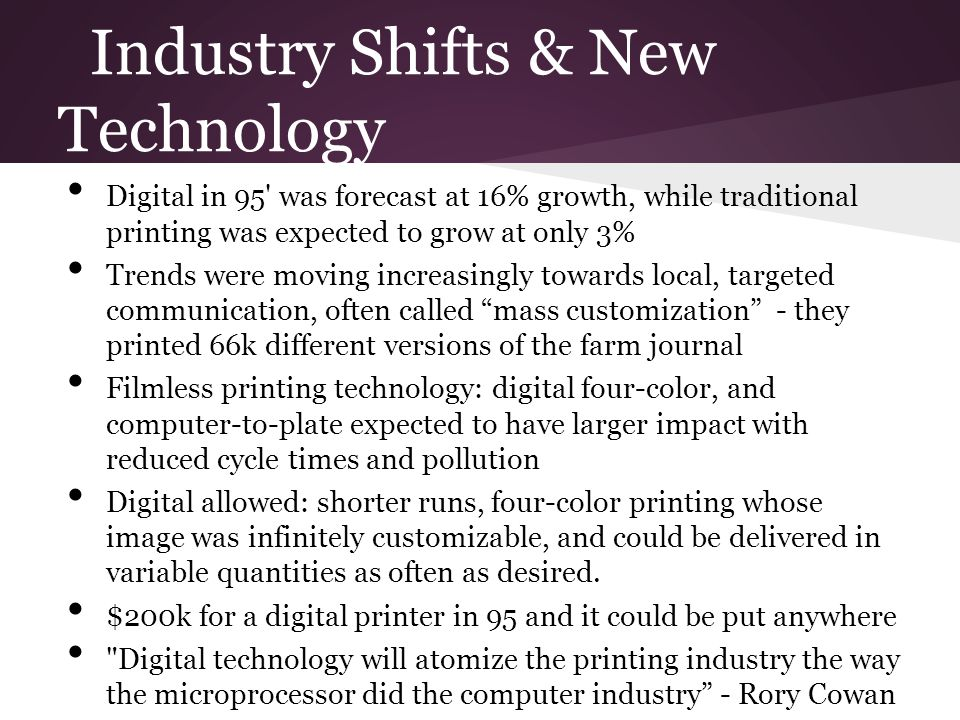 Industry Shifts & New Technology