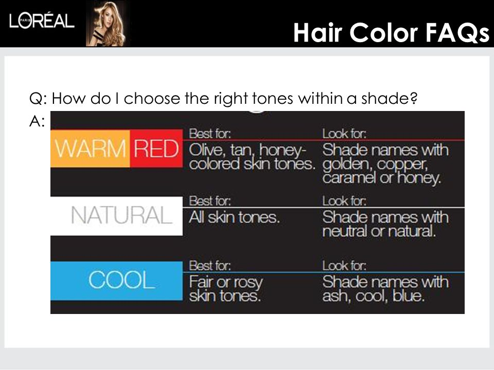 Hair Color FAQs Q: How do I choose the right tones within a shade A: