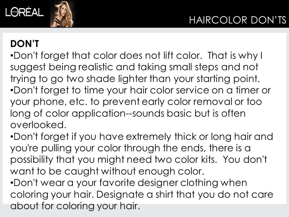 HAIRCOLOR DON'TS DON'T
