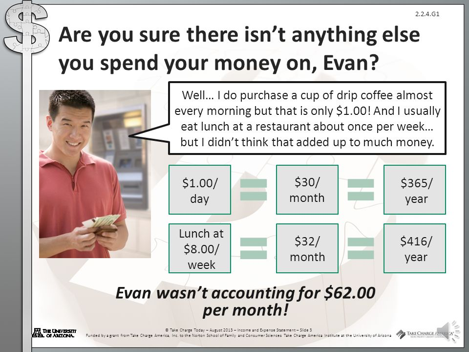 Are you sure there isn't anything else you spend your money on, Evan