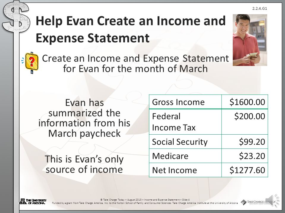 Help Evan Create an Income and Expense Statement