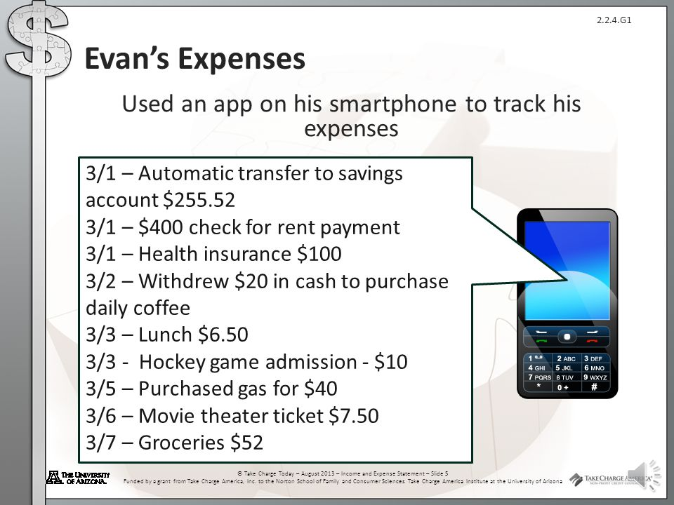 Used an app on his smartphone to track his expenses