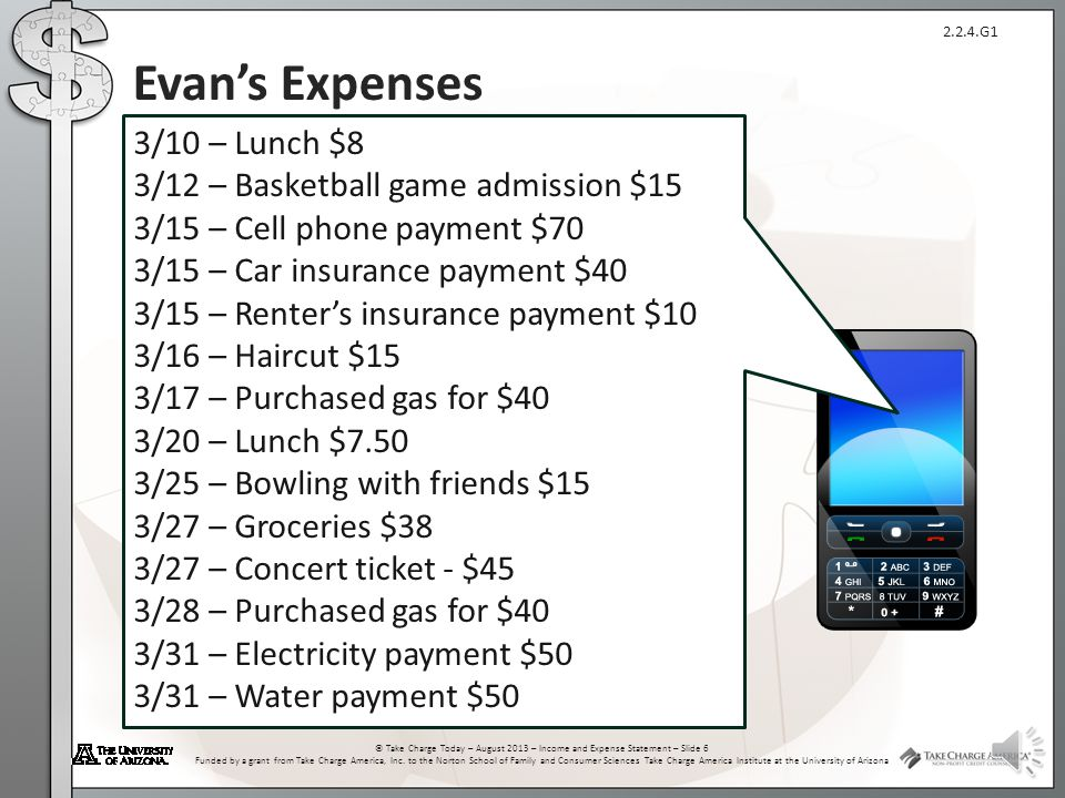 Evan's Expenses 3/10 – Lunch $8 3/12 – Basketball game admission $15