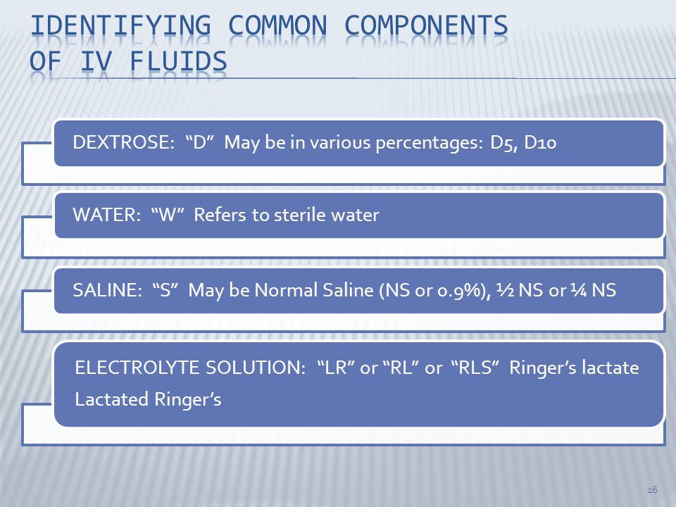 Identifying common components of iv fluids