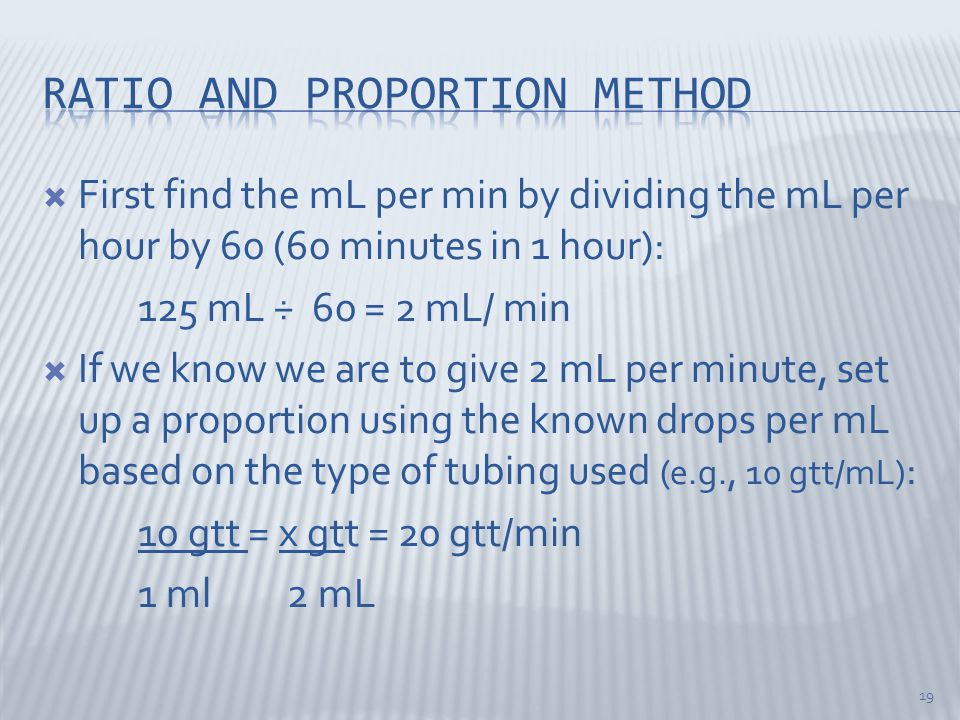 Ratio and proportion method