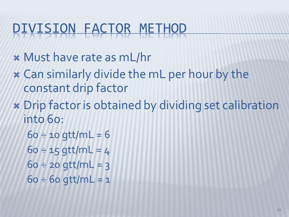 Division factor method