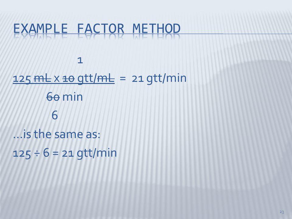 Example factor method 1 125 mL x 10 gtt/mL = 21 gtt/min 60 min 6 …is the same as: 125 ÷ 6 = 21 gtt/min