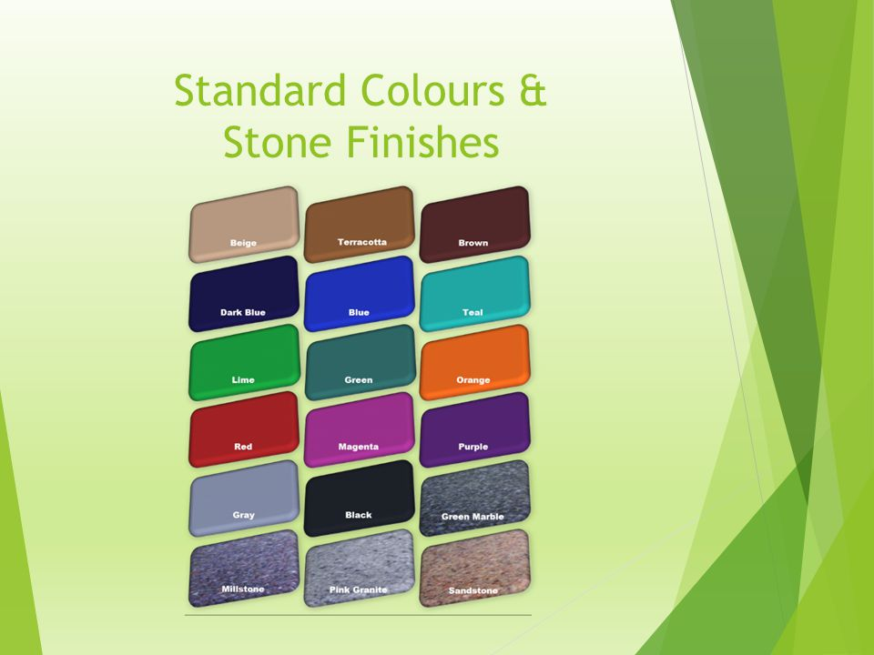 Standard Colours & Stone Finishes