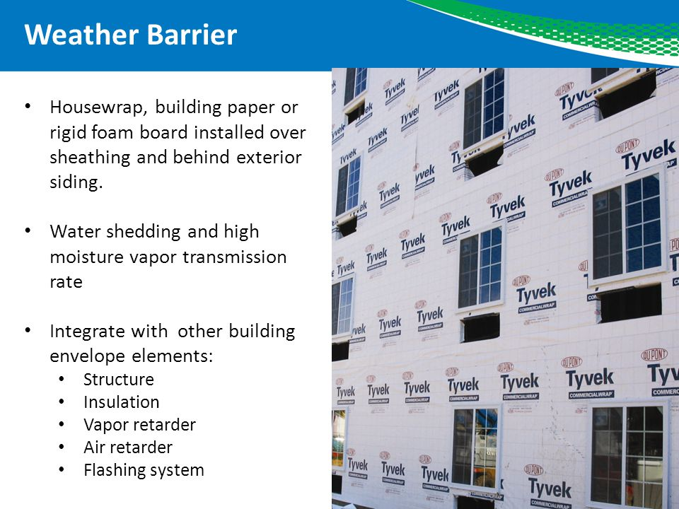 Weather Barrier Housewrap, building paper or rigid foam board installed over sheathing and behind exterior siding.