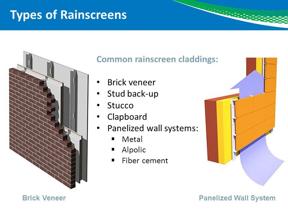 Types of Rainscreens Common rainscreen claddings: Brick veneer