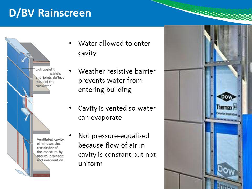 D/BV Rainscreen Water allowed to enter cavity