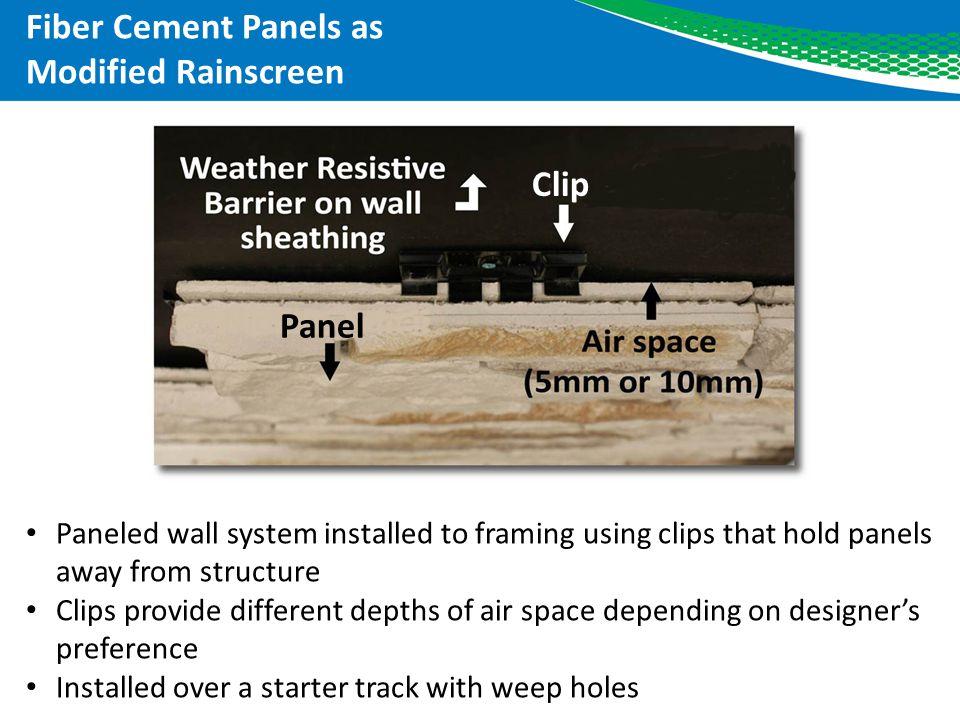 Fiber Cement Panels as Modified Rainscreen