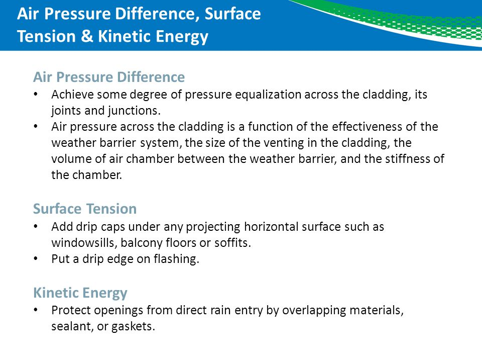 Air Pressure Difference, Surface Tension & Kinetic Energy