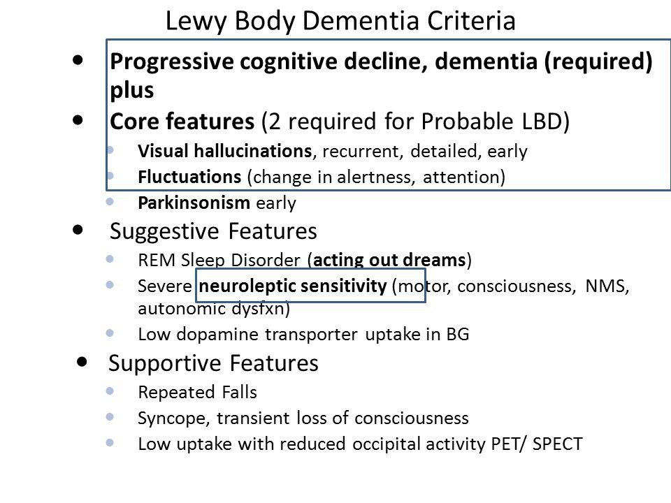 Lewy Body Dementia Criteria