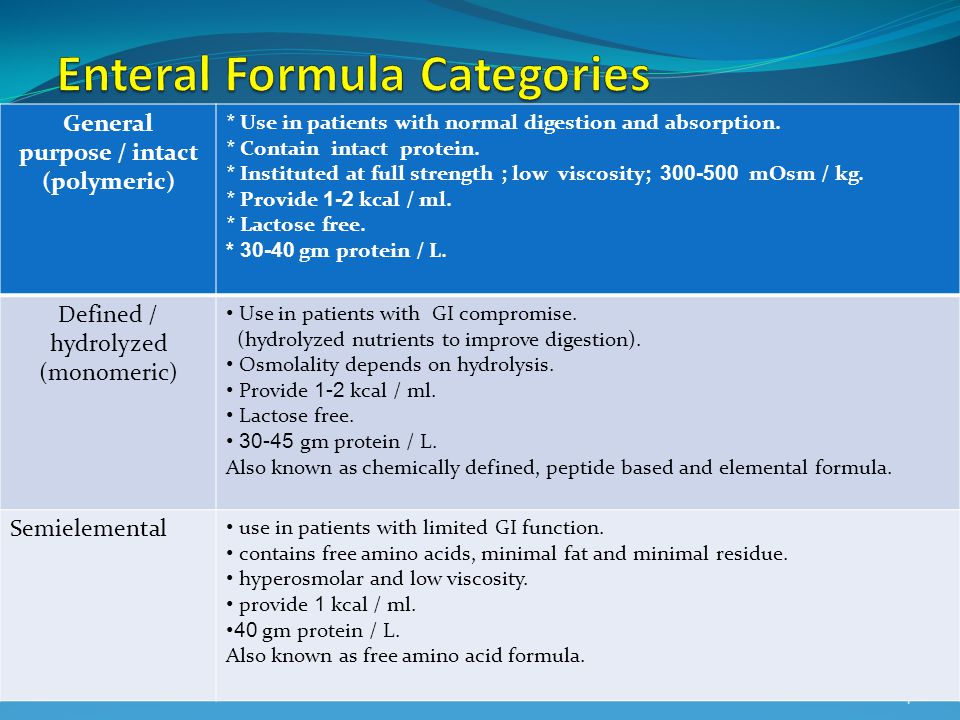 Enteral Formula Categories