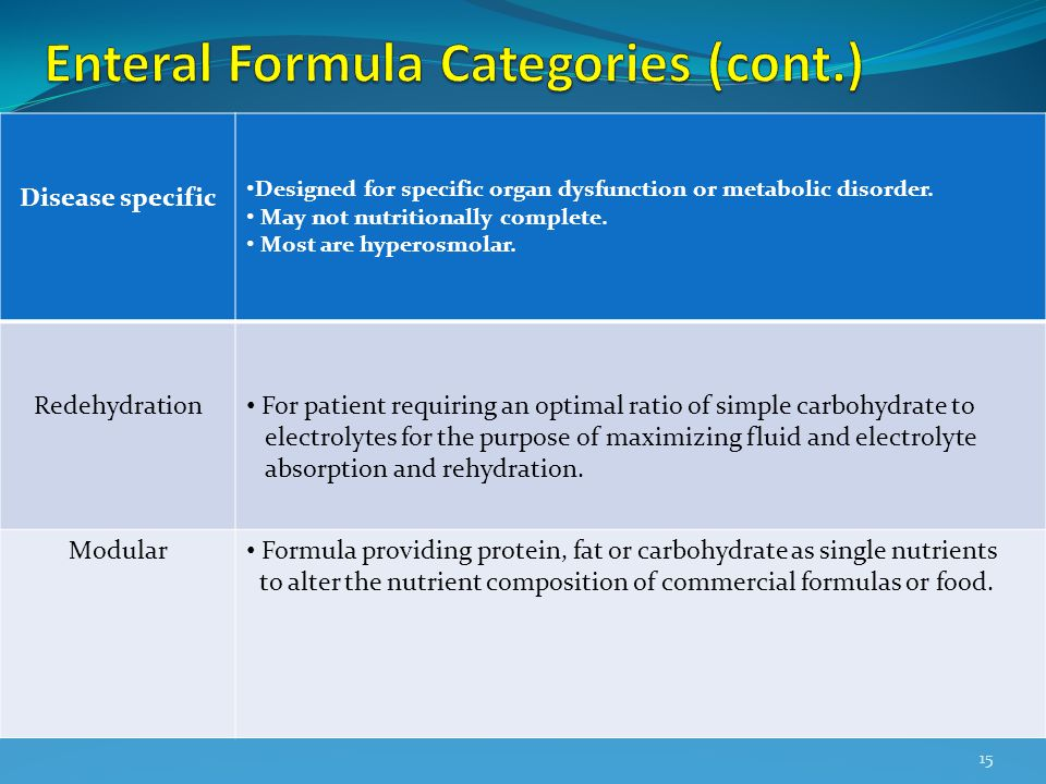 Enteral Formula Categories (cont.)