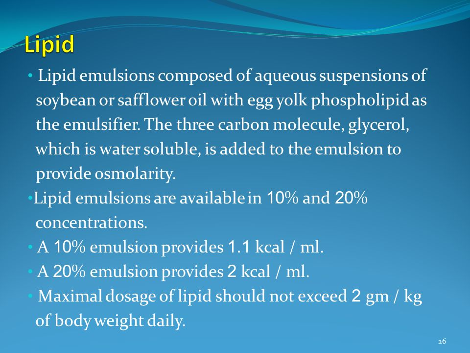 Lipid Lipid emulsions composed of aqueous suspensions of