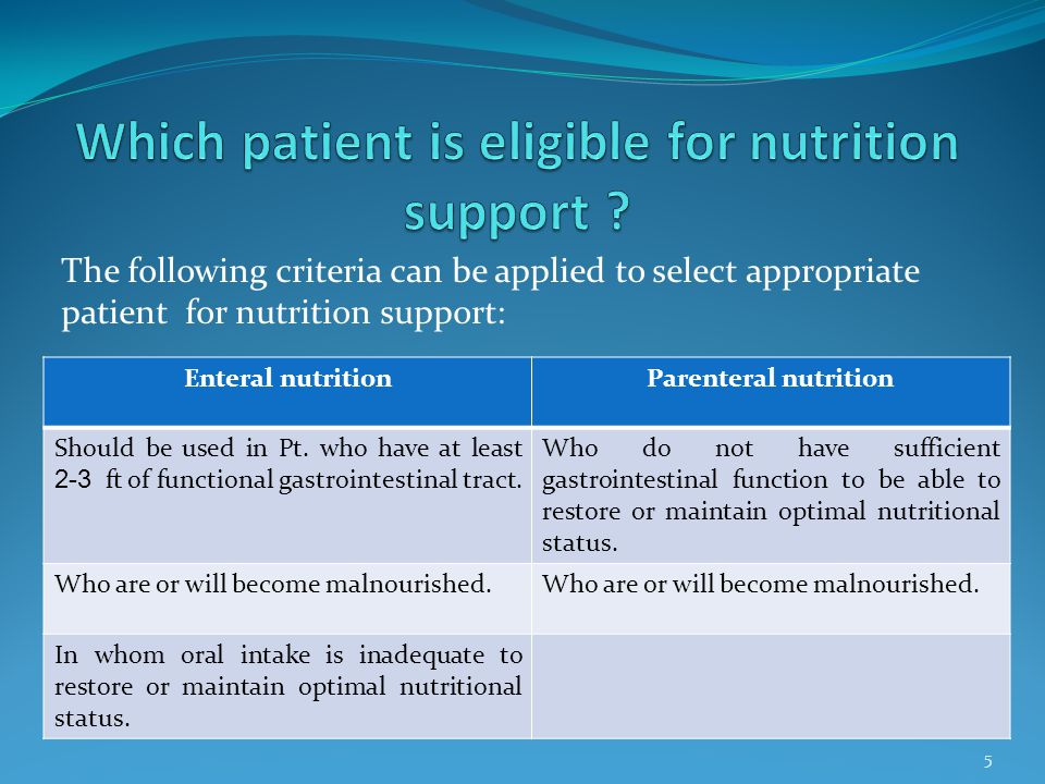 Which patient is eligible for nutrition support