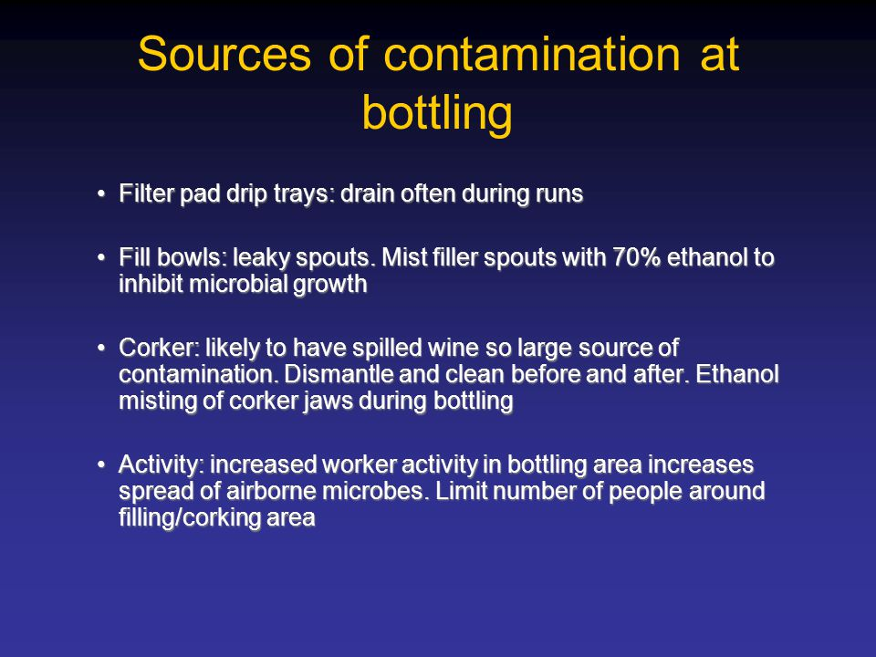 Sources of contamination at bottling