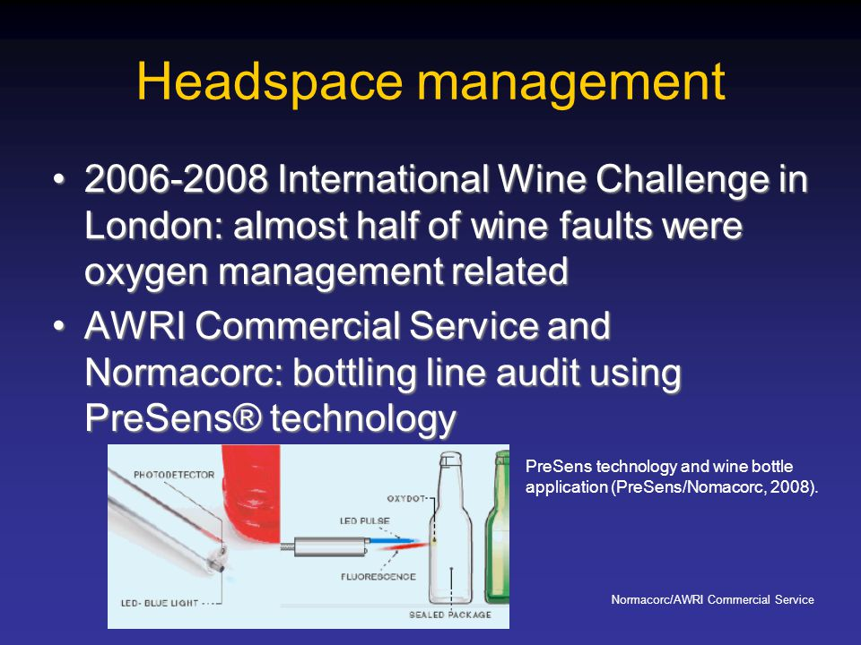 Headspace management 2006-2008 International Wine Challenge in London: almost half of wine faults were oxygen management related.
