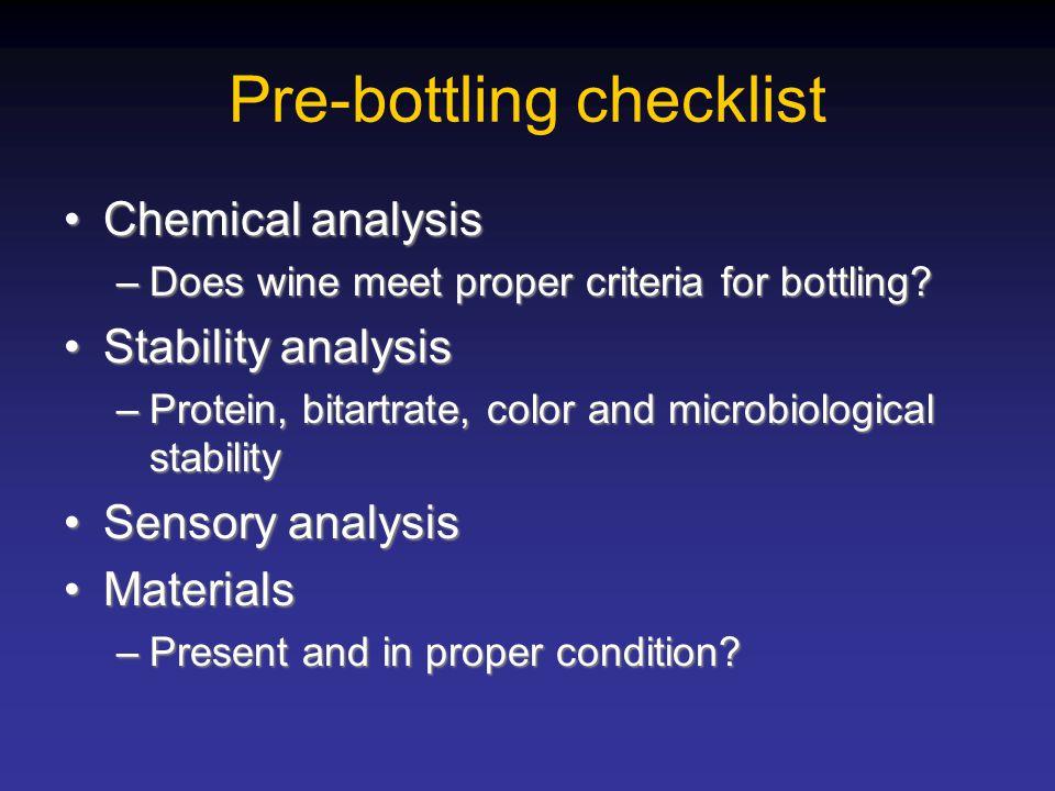 Pre-bottling checklist