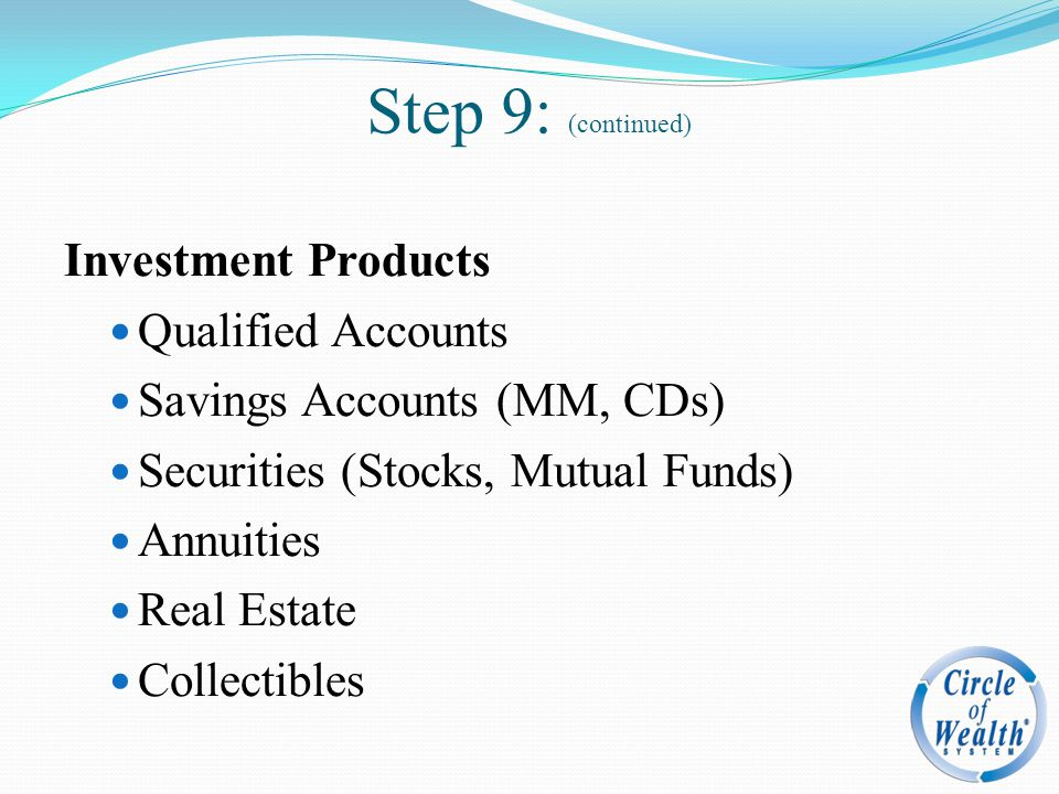 Step 9: (continued) Investment Products Qualified Accounts