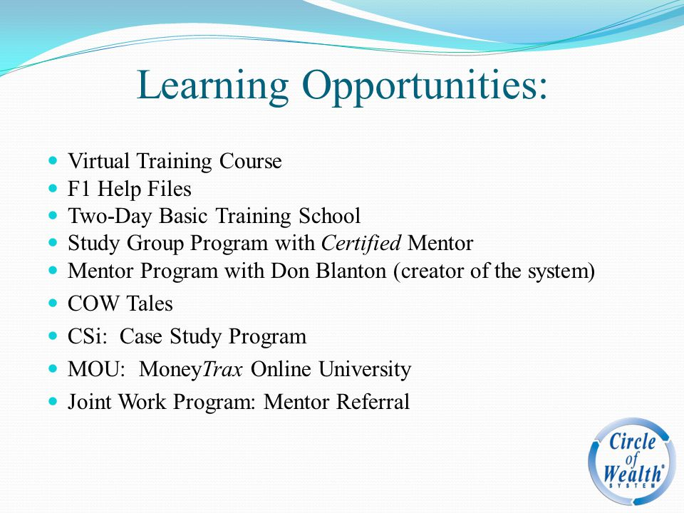 Learning Opportunities: